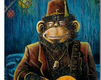 Ape Chimp Fez Lowbrow Kustom Tiki Art Bass Rockabilly Guitar Print Man Cave