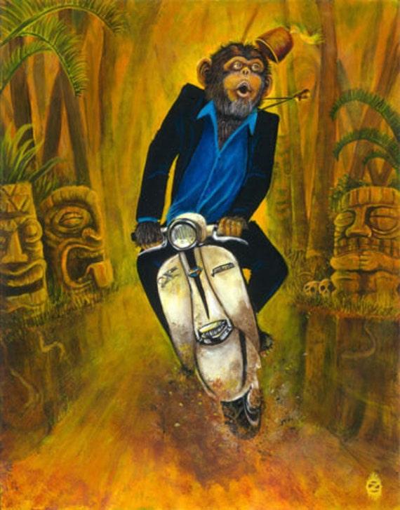 Drunk Chimp At Tiki Bar Ape Monkey Fez Lowbrow Pop Art Home Decor Print