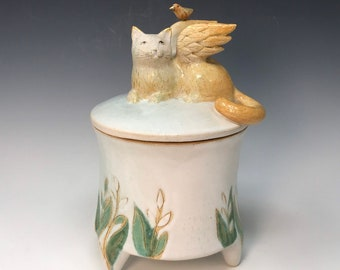 Container with Cat and Bird #5 by Margaret Wozniak