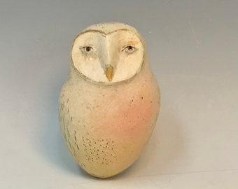 Owl with pink blush - sculpture by Margaret Wozniak