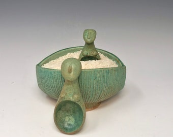 Green Salt boat #3 with one spoon of your choice- by Margaret Wozniak