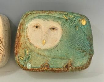 Green Owl tile  - by Margaret Wozniak