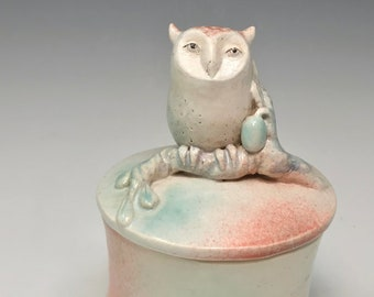 Owl container with a olive branch by Margaret Wozniak