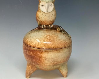 Owl container/ sugar jar with a golden olive  by Margaret Wozniak