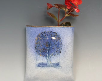 Wallpocket with blue and gold Tree - by Margaret Wozniak