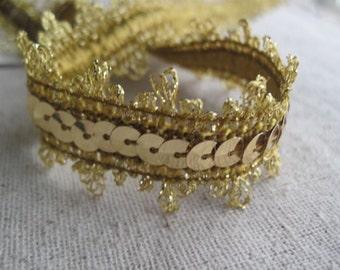 GOLD sequins lacey edge trim
