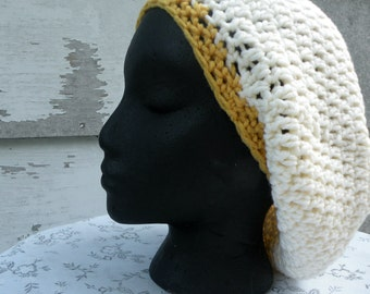 Crocheted Slouch Hat, Cream and Gold Hat, Oversized Beret, Renaissance Snood