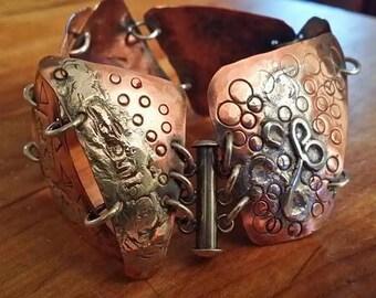 B93121 Sterling Silver & Copper Linked Cuff bracelet