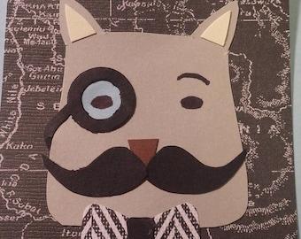 Original Mini Artwork Paper Cut Art Mustache Cat ACEO Signed Artist Card ATC