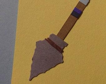 Original Mini Artwork Paper Cut Art Arrow ACEO Signed Artist Card ATC Tribal Point Direction