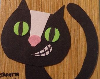 Original Miniature Artwork Hand Cut Paper Collage Art Cat Silly Kitten on Laminate