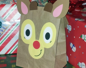 MINI Reindeer Rudolph Treat Sacks - Christmas Holiday Theme Birthday Party Favor Goody Bags by jettabees on Etsy