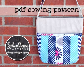 Quilted Shoulder Bag - PDF sewing pattern - A quilt as you go patchwork purse - INSTANT DOWNLOAD