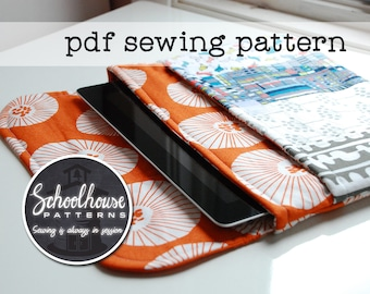 eclutch pdf sewing pattern - sleeve case clutch with pocket - Fits iPad, iPad mini and Kindle Fire - INSTANT DOWNLOAD