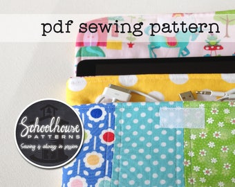 eclutch sewing pattern - sleeve case clutch with pocket - Fits iPad, iPad mini and Kindle Fire - PDF INSTANT DOWNLOAD