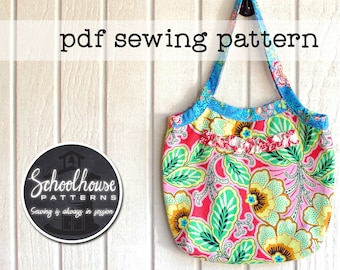 Slouchy shoulder bag with ruffle - purse pdf sewing pattern in 3 sizes - INSTANT DOWNLOAD