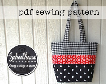 Patchwork Tote Bag PDF sewing pattern - perfect for purse or diaper bag - INSTANT DOWNLOAD