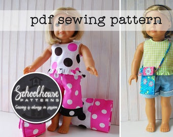 American girl sewing pattern - 2 patterns 1 price - INSTANT DOWNLOAD - Pajamas - sleeping bag - pillow & case - purse for girls and dolls