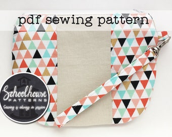 Patchwork Wristlet PDF sewing pattern in 2 sizes - use as a wallet or clutch - has detachable strap - INSTANT DOWNLOAD