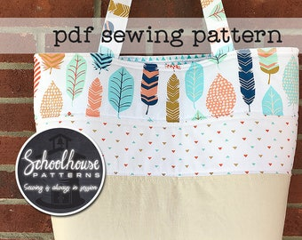 Patchwork Tote Bag 2.0 PDF sewing pattern - perfect for purse or diaper bag - INSTANT DOWNLOAD
