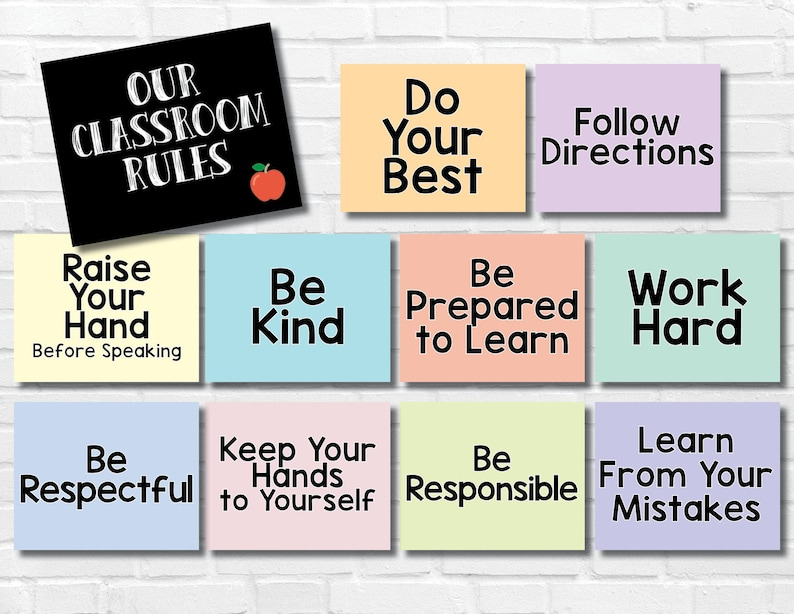 image relating to Classroom Signs Printable referred to as Printable Clroom Laws Symptoms - Inspirational Artwork - Be Respectful - Be Variety - Lecturers - Clroom Decor - University Legislation