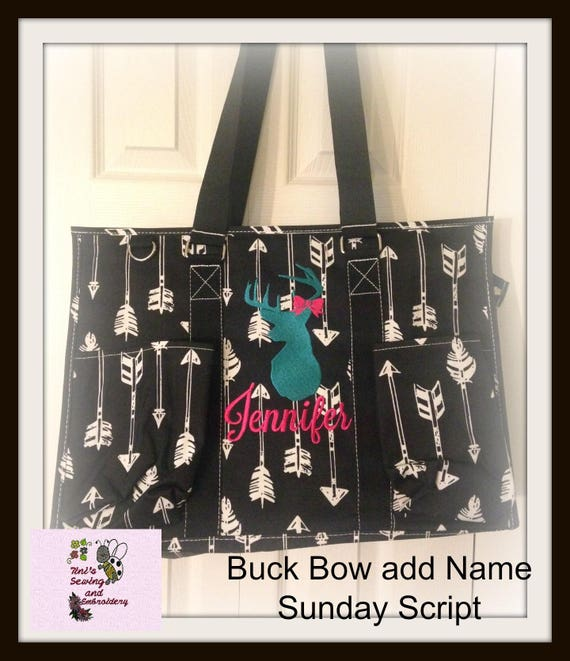 Black Arrow Print Organizer Tote Bag, Teacher Bag, Nurse Bag , Nurse Tote, Beach Bag, Diaper Bag, Utility Tote, Camper Tote