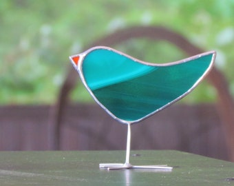 Teal Green Stained Glass Bird Suncatcher Unique Handmade Glass Ornament Fun Unique Gift Idea for Nature Lover Handmade in Canada