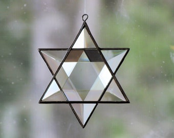 Beveled Stained Glass Star of David Ornament Hanging Geometric Six-Point Star Suncatcher Hanukkah Holiday Decor Made in Canada
