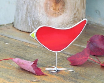 Red Stained Glass Bird Suncatcher - Bright Fun Happy Folk Art Ornament - Unique Gift Idea for Nature Lover - Hand Crafted in Canada