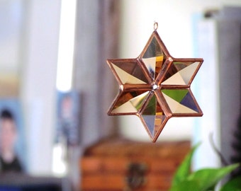 3D Peach Copper Glass Star Suncatcher Home and Garden Decor Six Point Stained Glass Star Ornament Handmade in Canada