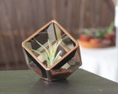 Geometric Air Plant Holder Stained Glass Terrarium Asymmetrical Brown Copper Color Cubed Box Vase Neutral Decor Handmade in Canada