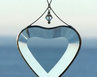 Clear Stained Glass Heart Suncatcher Valentine Gift Idea Heart Ornament Handmade in Canada