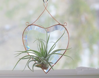 Air Plant Holder Stained Glass Heart Window or Wall Hanging Plant Holder Clear Copper Wall Decor Valentine Gift Idea Made in Canada