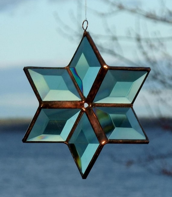 3D Green And Copper Geometric Stained Glass Star Bevel