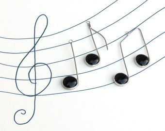 Three Glass Musical Notes Black and Silver Suncatcher Ornaments