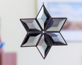3D Gray and Black Beveled Glass Star Suncatcher Neutral Gray Glass Art for Home or Garden Gift Idea for Nature Loving Dad on Father's Day