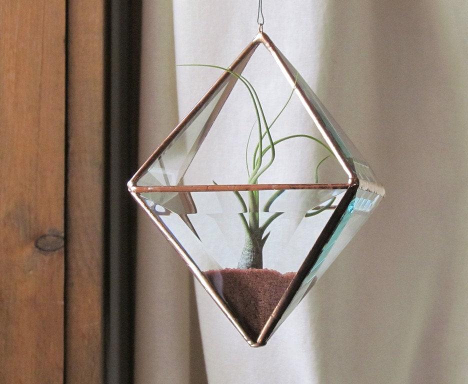 Geometrische Luft Pflanzen Halter Stained Glass Terrarium klar | Etsy