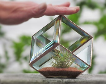 Geometric Air Plant Holder Stained Glass Terrarium Asymmetrical Glass Cubed Box Vase Clear Copper Colors Handmade in Canada