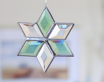 Stained Glass Star Suncatcher - Morphing Geometric Hanging Ornament - Indoor Outdoor Glass Garden Art - Handcrafted in Canada