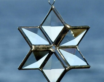 3D Clear Beveled Stained Glass Star Suncatcher Six Point Star Geometric Hanging Ornament Decoration