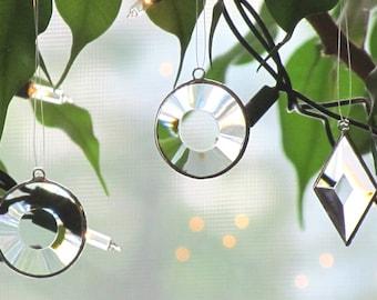 Mini Clear Geometric Beveled Stained Glass Suncatchers Tree Ornaments - Set of Three