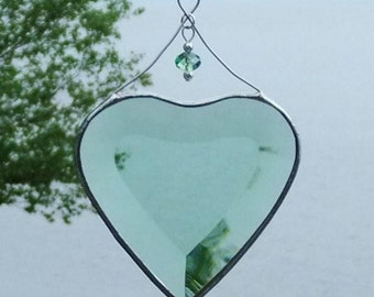 Green Stained Glass Heart Suncatcher Ornament with Beads and a Silver Line