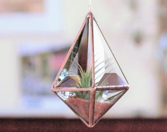 Geometric Air Plant Holder Stained Glass Hanging Terrarium Clear and Copper Colored Beveled Glass Triangles Pyramid Planter Glass Vase