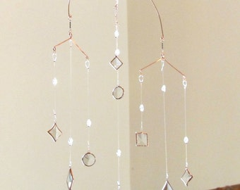 Geometric Hanging Mobile Glass Crystal and Copper Stained Glass Art Made in Canada