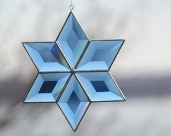Blue Beveled Stained Glass Six-Pointed Star  Suncatcher.
