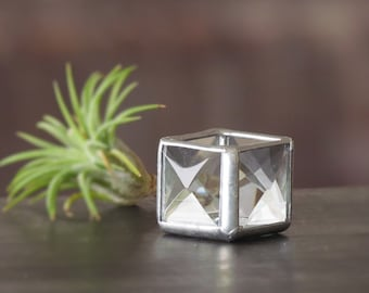 Mini Air Plant Holder Stained Glass Terrarium Cubed Glass Clear Silver Colored Box Planter