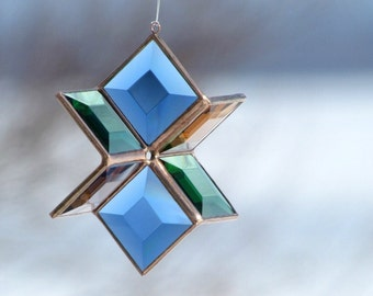 3D Stained Glass Star Blue, Green Peach-Champagne and Copper Lines - Medium Size