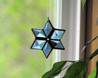 3D Blue and Copper Beveled Stained Glass Star Suncatcher - Handcrafted in Canada