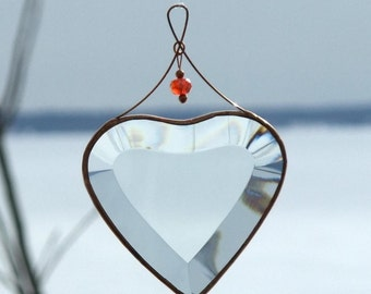Clear Beveled Glass Heart Suncatcher with Beads and a Copper Line