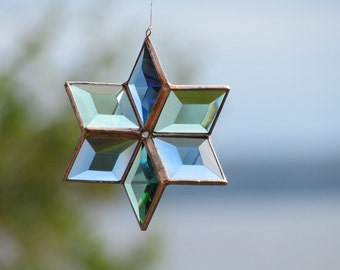 3D Stained Glass Star Blue Green Copper Suncatcher - Handcrafted in Canada